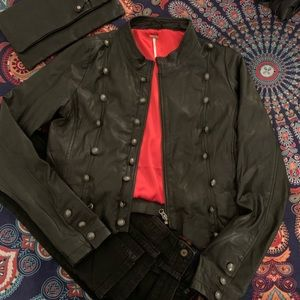 Free People soft leather military style jacket